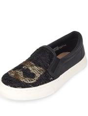 Girls Flip Sequin Cat Slip On Sneakers