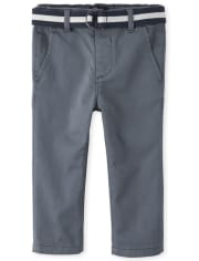Baby And Toddler Boys Belted Stretch Chino Pants