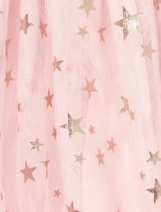 Baby And Toddler Girls Foil Star Knit To Woven Dress