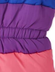 Toddler Girls Happy Rainbow Puffer Jacket
