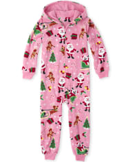 Girls Matching Family Dear Santa Fleece One Piece Pajamas