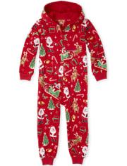 Unisex Kids Matching Family Dear Santa Fleece One Piece Pajamas