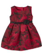 Doll Mommy And Me Floral Jacquard Matching Pleated Dress