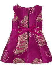 Doll Mommy And Me Metallic Floral Jacquard Matching Fit And Flare Dress