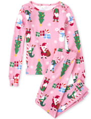 Girls Gnome For The Holidays Matching Snug Fit Cotton Pajamas
