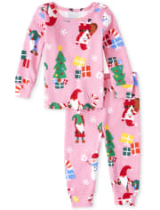 Baby And Toddler Girls Gnome For The Holidays Matching Snug Fit Cotton Pajamas