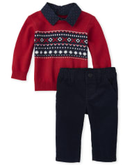 Baby Boys Fair Isle Matching Button Neck Sweater Set