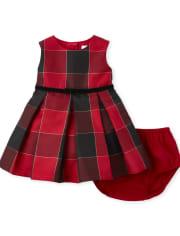 Baby Girls Mommy And Me Glitter Buffalo Plaid Matching Pleated Dress