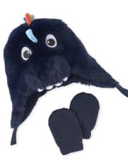 NWT Boy 6-12 Months Children/'s Place Blue Dinosaur Hat /& Mittens Retail $22.95