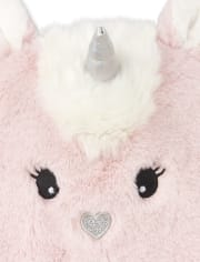 Baby Girls Faux Fur Unicorn Hat And Mittens Set