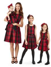 Toddler Girls Mommy And Me Glitter Buffalo Plaid Matching Pleated Dress