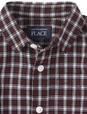 Baby And Toddler Boys Plaid Poplin Matching Button Down Shirt