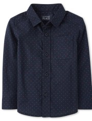 Baby And Toddler Boys Dot Poplin Matching Button Down Shirt
