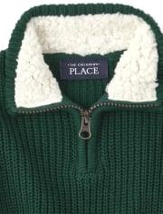 Suéter de cuello simulado con media cremallera a juego con sherpa para bebés y niños pequeños
