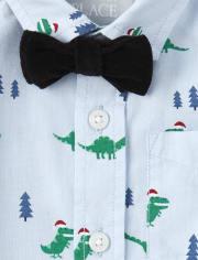 Toddler And Boys Merry Rex-Mas Poplin Button Down Shirt