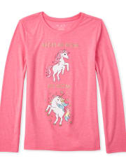 Girls Glitter Unicorn Mom Graphic Tee