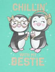 Girls Glitter Bestie Penguin Graphic Tee