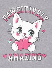 Girls Glitter Cat Graphic Tee