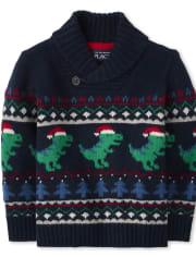 Toddler And Boys Merry Rex-Mas Shawl Collar Sweater