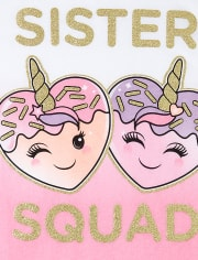 Girls Glitter Unicorn Squishies Squad Matching Graphic Tee