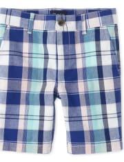 Boys Plaid Chino Shorts