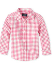 Baby And Toddler Boys Gingham Poplin Matching Button Down Shirt