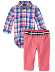Baby Boys Plaid Poplin Matching 4-Piece Outfit Set