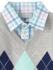 Baby Boys Plaid Poplin Matching Outfit Set