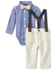 Baby Boys Dad And Me Gingham Poplin Matching 4-Piece Outfit Set