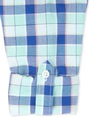 Boys Plaid Poplin Matching Button Down Shirt