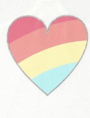 Las niñas mezclan y combinan Glitter Rainbow Heart Racerback Tank Top
