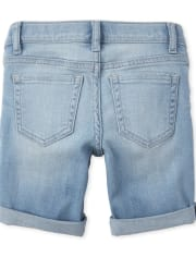 Girls Roll Cuff Distressed Denim Skimmer Shorts
