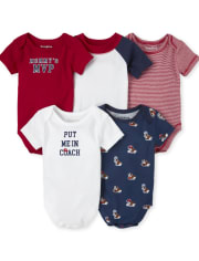 Baby Boys MVP Graphic Bodysuit 5-Pack