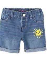 Baby And Toddler Girls Sun Roll Cuff Denim Midi Shorts