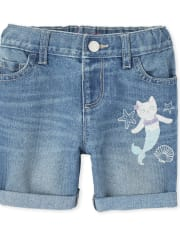 Baby And Toddler Girls Embroidered Mermaid Roll Cuff Denim Midi Shorts