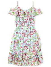 Womens Mommy And Me Floral Matching Cold Shoulder Dress