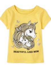 Baby And Toddler Girls Glitter Mom Unicorn Graphic Tee