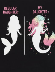 Womens Mommy And Me Glitter Mermaid Matching Graphic Tee