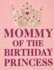 Womens Mommy And Me Glitter Birthday Princess Matching Graphic Tee