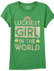 Girls Glitter Luckiest Girl Graphic Tee