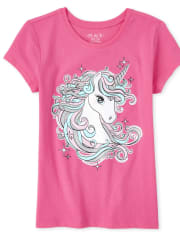 Girls Glitter Unicorn Graphic Tee