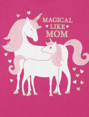 Girls Mom Unicorn Graphic Tee