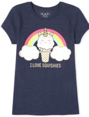 Girls Glitter Rainbow Squishies Graphic Tee