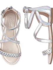 Girls Holographic Laser Cut Gladiator Sandals