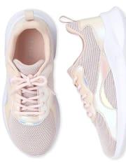Girls Uniform Iridescent Glitter Running Sneakers