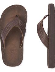 Boys Faux Leather Flip Flops