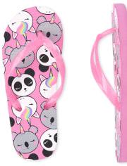 Girls Crittercorn Flip Flops