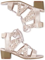 Girls Metallic Laser Cut Lace Up Low Heel Sandals