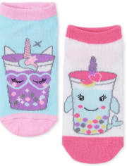 Girls Glitter Critter Frappe Ankle Socks 6-Pack