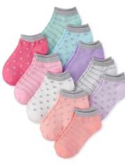 Girls Glitter Heart Ankle Socks 10-Pack
